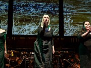 GÖTTERDÄMMERUNG by Wagner; Opera North; Semi-staged concert performance; Leeds Town Hall; Leeds, UK; 11 June 2014;  KATHERINE BRODERICK as Woglinde (left); MADELEINE SHAW as as Wellgunde; SARAH CASTLE as Flosshilde (left);  RICHARD FARNES - Conductor; PETER MUMFORD - Concert Staging and Design Concept; PETER MUMFORD - Lighting and Projection Design;  Photo credit: © CLIVE BARDA/ArenaPAL;