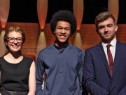WARNING: Embargoed for publication until 21:00:01 on 07/05/2016 - Programme Name: BBC YOUNG MUSICIAN 2016 - TX: 15/05/2016 - Episode: n/a (No. n/a) - Picture Shows: BBC Young Musician 2016 Finalists. L-R: saxophonist Jess Gillam, cellist Sheku Kanneh-Mason, French Horn player Ben Goldscheider: The Final will be broadcast on BBC Four on Friday 22 April, and throughout the week on BBC Radio 3's In Concert from Monday 18 to Friday 22 April.  - (C) BBC - Photographer: Brian Tarr