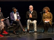 Programme Name: Diversity and Inclusion in Composition Conference - TX: 19/10/2016 - Episode: n/a (No. n/a) - Picture Shows:  Josie D'Arby, Tom Service, Toks Dada (Programme Co-Ordinator, THSH), Bill Bankes-Jones (Artistic Director, Tête à Tête), Chi-chi Nwanoku (Founder, Artistic & Executive Director of the Chineke Foundation) - (C) BBC - Photographer: Guy Levy