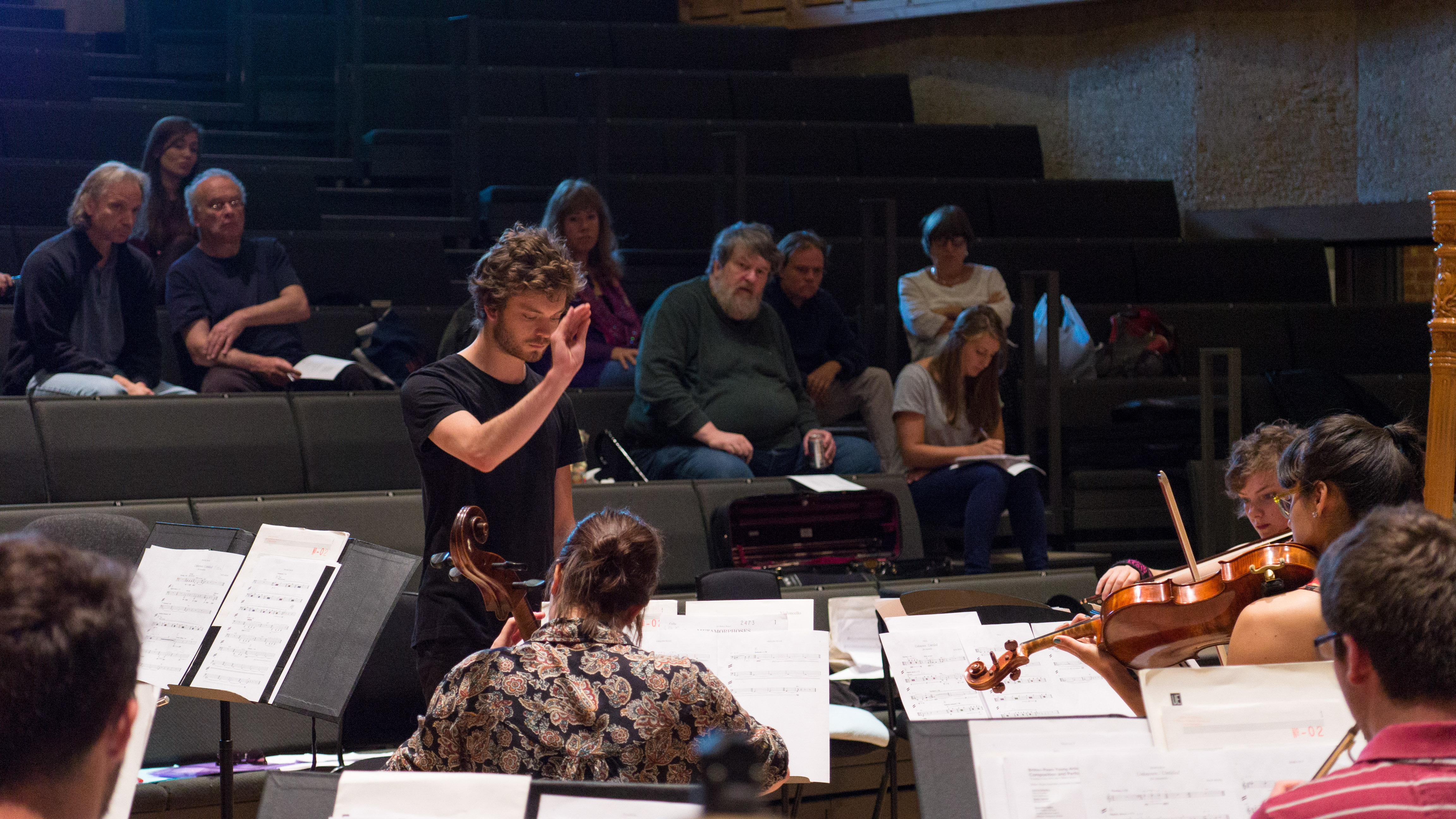 2015 BPYAP composer Jack Sheen leads, with Oliver Knussen and other tutors in background Photo: Sam Murray-Sutton