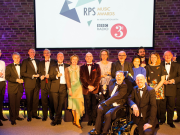 John Gilhooly, RPS Chairman - centre - with Winners of the RPS Music Awards 2017 - photo credit Simon Jay Price  nb - minus Manchester Camerata