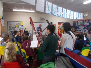 Working with young bassoon players in Leicestershire Photo: Marian Blaikley