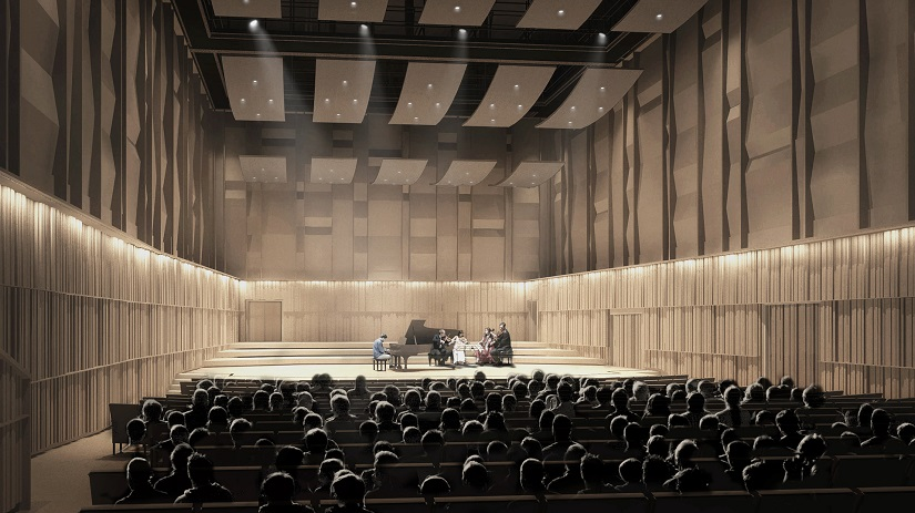 Architect's impression of the completed concert hall Photo: Feilden Clegg Bradley Studios