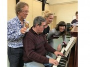 David Edwards, director, and Philip Thomas, pianist in rehearsal with the cast of Hansel and Gretel