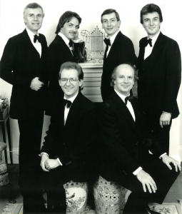 The King's Singers in 1985: Anthony Holt, Colin Mason, Bob Chilcott, Jeremy Jackman, Alastair Hume and Simon Carrington