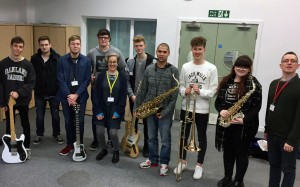 Participants in the school's Jazz Ticket project, which saw students working with professional jazz musicians