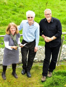 Fiona Robertson with Mark Hope and Pete Stollery (chair of sound)