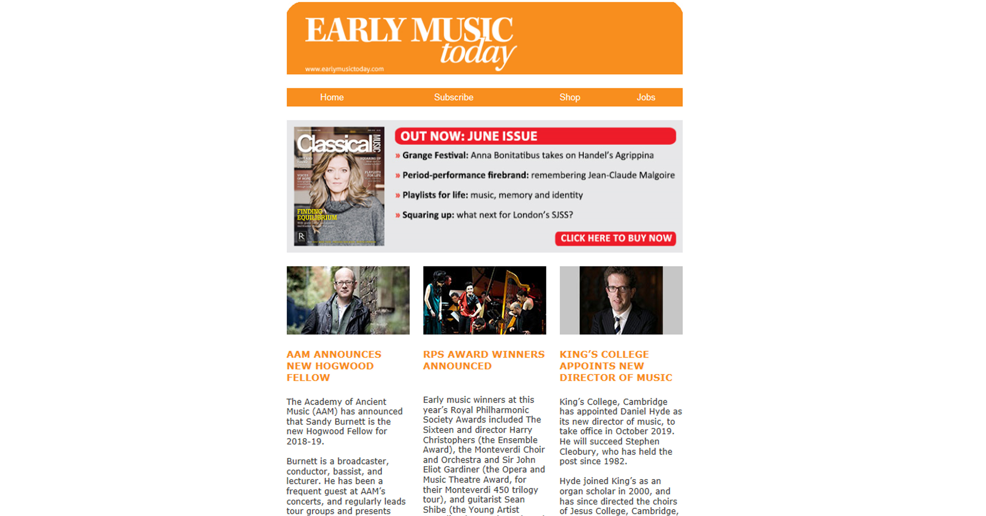 Sign up to receive Early Music Today's free e-newsletter