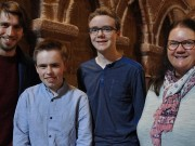 ST MAGNUS FESTIVAL COMPOSERS COMPETITION winners left to right George Stevenson, Gareth Flett, Joseph Rognvald Pickering and Andra Patterson photo credit Leslie Burgher