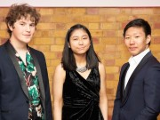 Composer Adam Possener, Marie Sato (flute) and Noah Zhou (piano), winners of the 2018 RPS Duet Prizes for young instrumentalists and composers Photo credit required:  Simon Jay Price