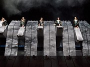 """A scene from Act 3 of Wagner's """"Die Walküre"""" with the Valkuries (left to right) Eve Gigliotti as Siegrune, Marjorie Elinor Dix as Waltraute, Wendy Bryn Harmer as Ortlinde, Molly Fillmore as Helmwige, Mary Phillips as Schwertleite, Kelly Cae Hogan as Gerhilde, Mary Ann McCormick as Grimgerde, and Lindsay Armann as Rossweisse. Photo: Ken Howard/Metropolitan Opera  Taken at the rehearsal on April 14, 2011 at the Metropolitan Opera in New York City."""